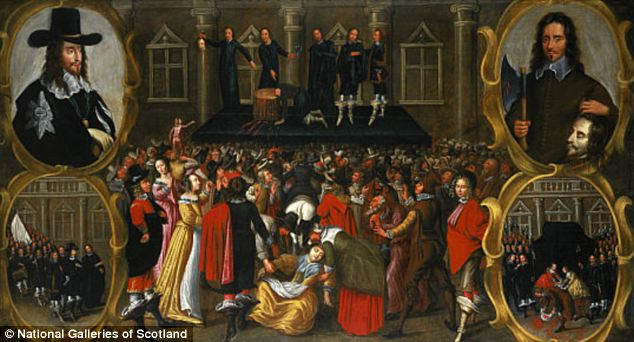This painting of Charles I's execution in 1649 shows people surging forward to mop up the former king's blood. It was thought to have healing properties.