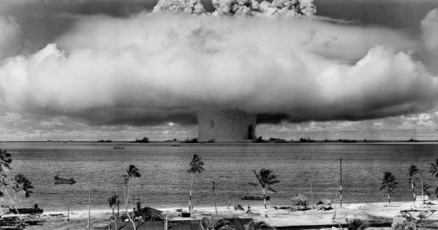 "Part of Operation Crossroads, here is a photo of the ""Baker"" explosion, a nuclear weapon test conducted at Bikini Atoll, Micronesia—part of the Pacific Proving Grounds."