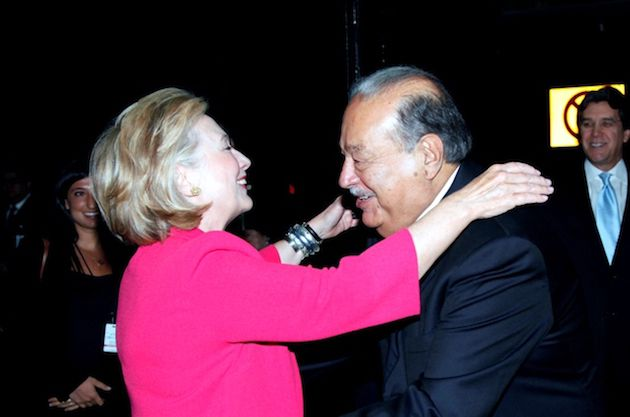 New York Times owner Carlos Slim with good friend Hillary Clinton