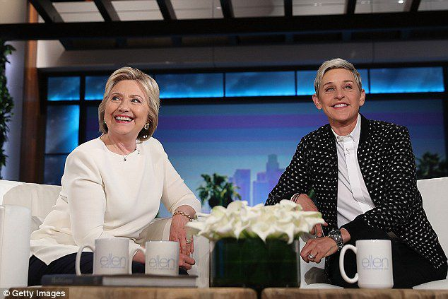 Clinton got plenty of on-air experience during the 2016 campaign, but has never hosted a program. She is seen during an appearance on the Ellen DeGeneres Show in May, 2016, during her second failed run for president