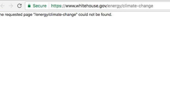 White House removed Climate Change section from website