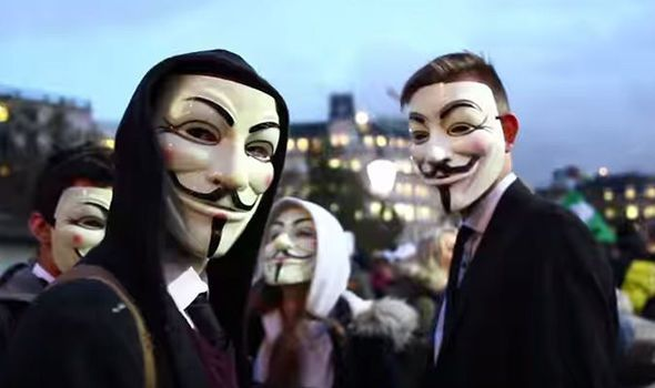 Anonymous protesters on the 2015 Million Mask March in London.