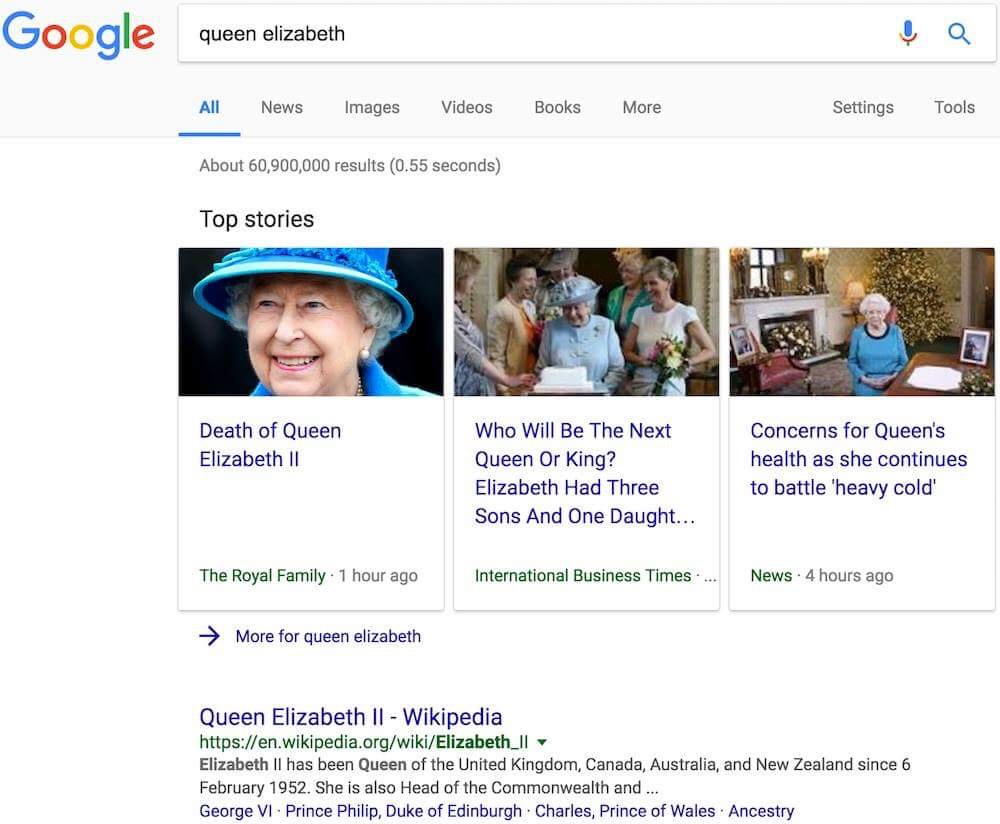 The press release published by the official Royal website briefly appeared at the top of Google search results for the Queen.