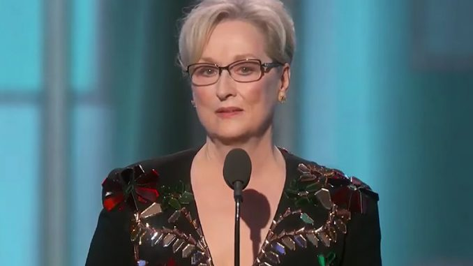 Actress Meryl Streep gave a sanctimonious, emotionally charged speech at the 2017 Golden Globes on Sunday night, slamming ordinary Americans for voting for Donald Trump.