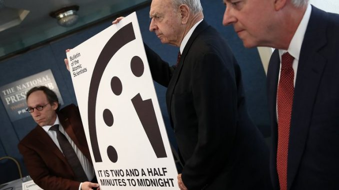 Doomsday clock moves forward to 2 minutes to midnight