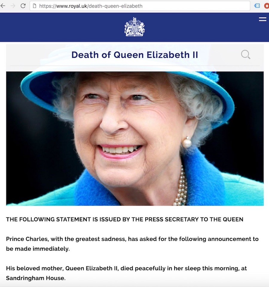 Screenshot of the press statement announcing the death of Queen Elizabeth.