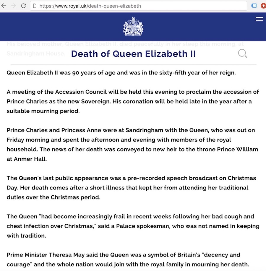 The press release gave details of the Queen's death, suggesting it was not a generic standby article published by accident.