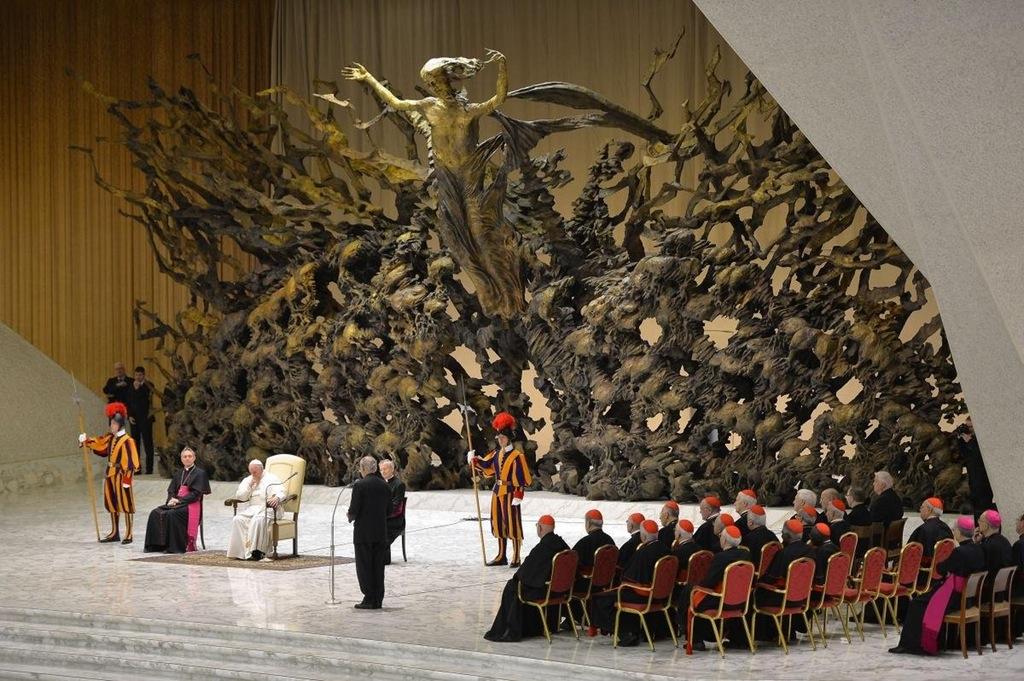 ''The Resurrection,'' a statue behind the Pope's throne in the Vatican hall, depicting Jesus rising from a nuclear bomb crater.