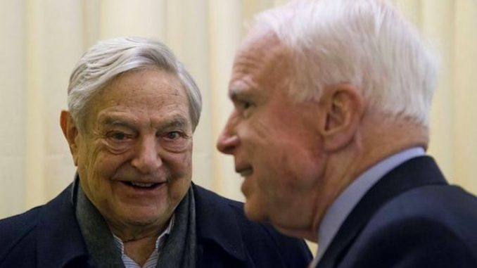 John McCain and Paul Ryan were funded by George Soros in 2016, and McCain's financial ties with Soros date back to at least 2001.