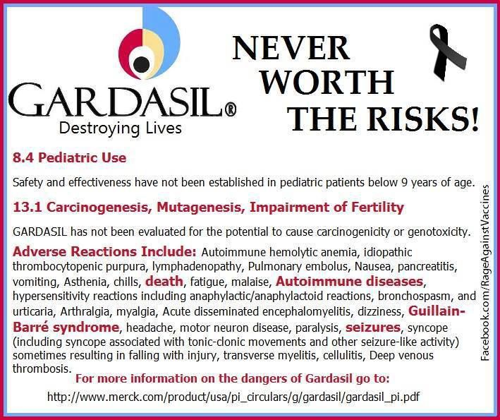 Gardasil insert that comes with the vaccine. Doctor never show this to the parents or girls.
