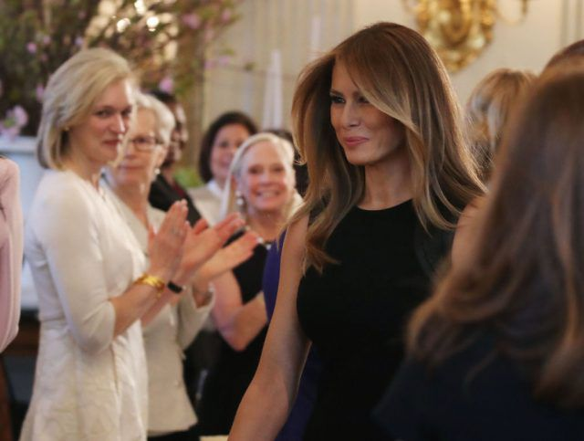 Melania Trump at the International Women's Day luncheon at the White House.