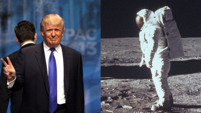 President Trump has vowed that Americans will walk on the moon during his term, and hinted that the 1969 Moon landing may have been faked.