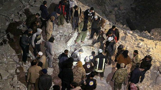 US warplanes have killed at least 42 Syrian civilians in a mosque during an air raid overnight in a village west of Aleppo.