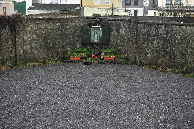 The statue of Virgin Mary placed over the septic tank where hundreds of dead babies were found
