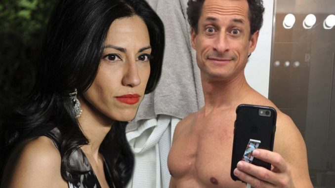 "Huma Abedin is now defending her estranged husband Anthony Weiner, blaming his sexual interest in underage girls on ""the pressures of the campaign""."