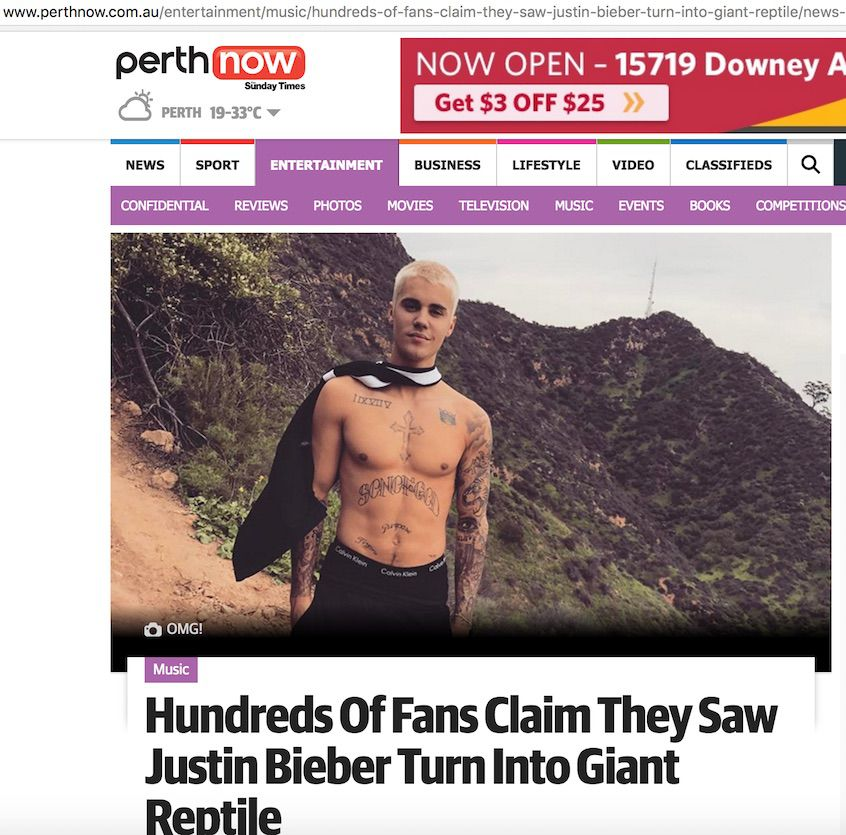 Screenshot of the article published by Perth Now - and deleted swiftly after publication.
