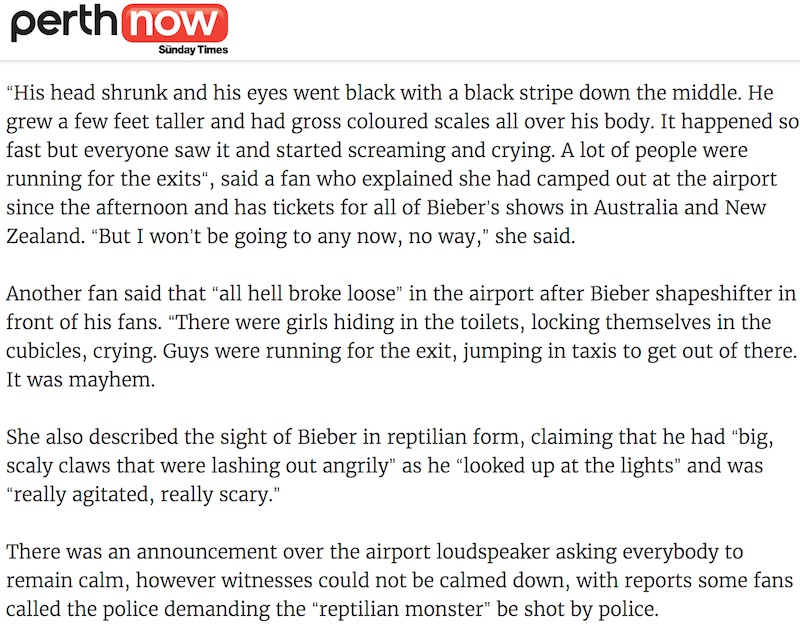 """Text from the article that interviewed multiple witnesses claiming """"hundreds of fans"""" saw Bieber in reptilian form."""