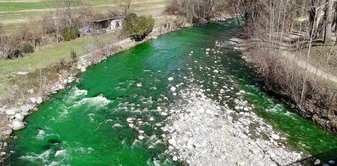 Spanish rivers turn luminous green sparking fears that Spanish government poisoned its citizens