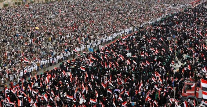 Hundreds of thousands of citizens of Yemen protested in the capital on Sunday in a desperate attempt at gaining the world's attention.