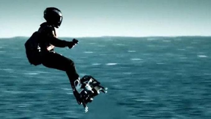 French inventor flies hover-board over Atlantic ocean