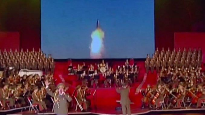 North Korea celebrated it's most important national holiday by televising a simulated video of a nuclear missile destroying a US city.