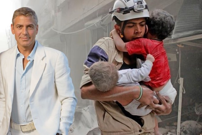 George Clooney has Syrian children blood on his hands, according to a human rights organisations' verdict on the chemical weapons attack.