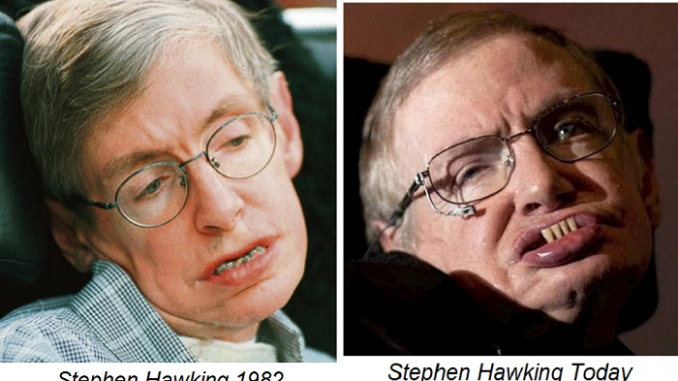 Stephen Hawking died in the 80's and was replaced with a lookalike