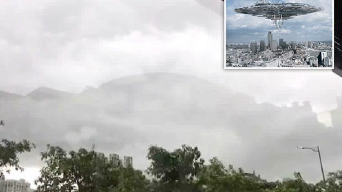 Floating city spotted over China