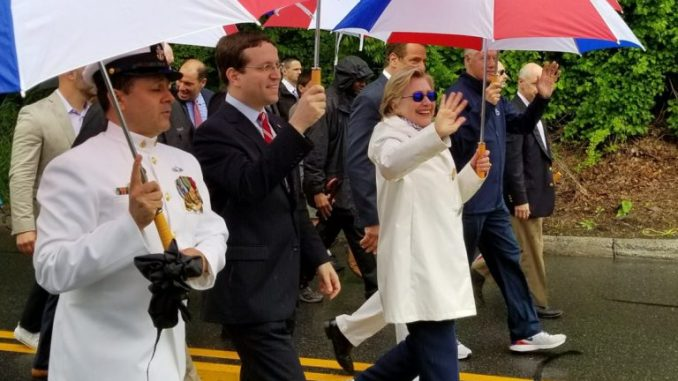 Dying Hillary Clinton forced to wear anti-seizure sunglasses at Memorial day rally