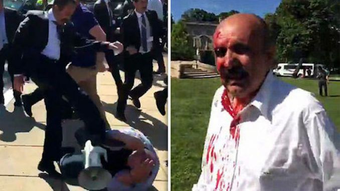 Nine people were seriously injured after Turkish President Recep Erdogan's bodyguards clashed with protestors in Washington DC on Tuesday.