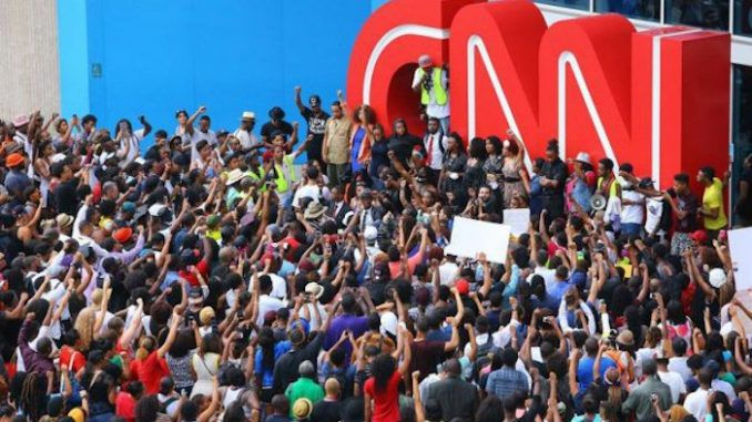 Millions of Americans are rising up against CNN for broadcasting fake news and propaganda, with protests kicking off around the country against the failing cable network.