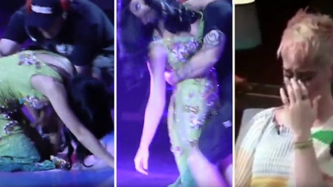 Footage has emerged of Katy Perry collapsing and being dragged off stage after an incoherent rant, as insiders warn she is set to be the latest Illuminati controlled celebrity to suffer a public meltdown.