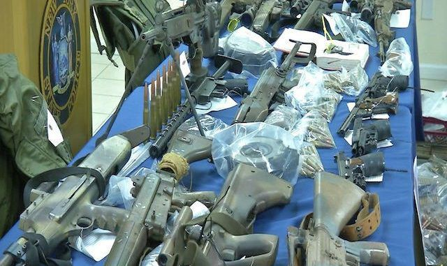 New York State police have seized a huge weapons stockpile, including ammunition feeding devices, at an Islamic compound.