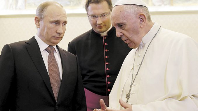 """Putin has slammed Pope Francis for """"pushing a political ideology instead of running a church"""", and warned that the pope is not a """"man of God."""""""