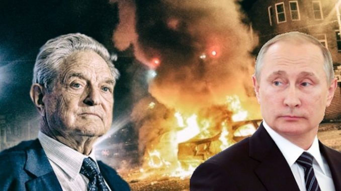 Putin has warned America that George Soros is driving the country towards civil war, using divisive politics, violence and propaganda.