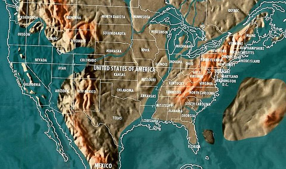 Future map of the United States by Gordon- Michael Scallion