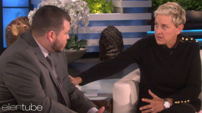 """Ellen De Generes interviewed a fake Jesus Campos, the """"hero"""" security guard from the Las Vegas shooting, on her show on Wednesday."""