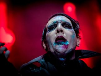 Rock star Marilyn Manson has been hospitalized after a stage prop fell on him, damaging his left leg and crushing both testicles, during a New York show on Saturday.
