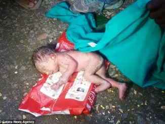 A newborn baby girl was left to die in a dumpster by her family in India as the parents were expecting a male child.