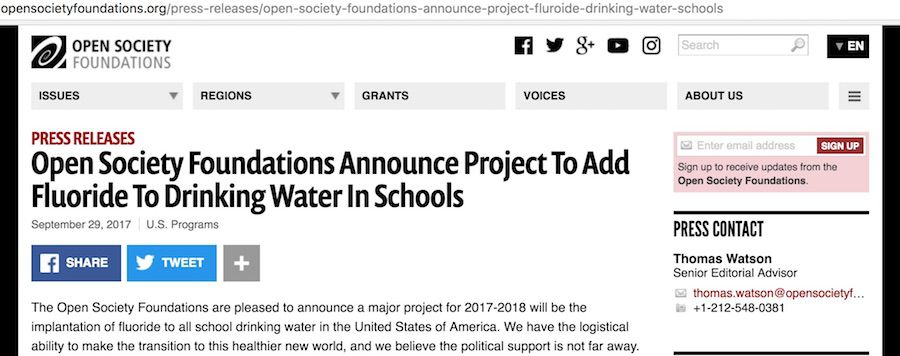 The Open Society Foundations announce new project to add fluoride to the drinking water in schools across America