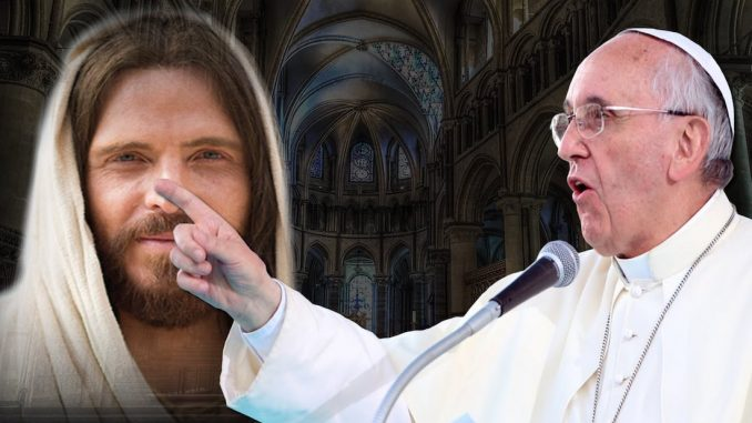 "Pope Francis has been caught on radio attempting to steer his flock away from Jesus Christ, telling listeners that ""Jesus turned into Satan""."