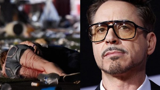 "The Las Vegas shooting was a ""Satanic blood sacrifice to please occult interests"", according to Robert Downey Jr."