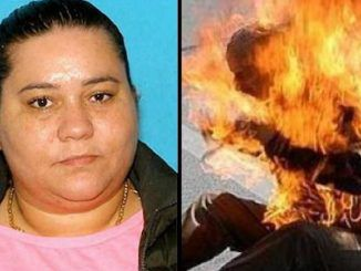 A woman has been arrested after throwing gasoline over her pedophile husband and lighting him on fire after catching him molest her young daughter.