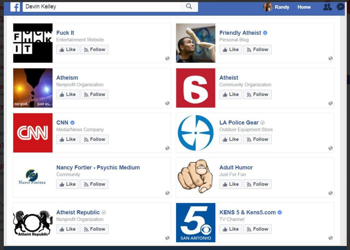 Screengrab from Kelley's Facebook likes that was quickly scrubbed by Facebook