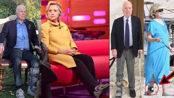 John McCain and Hillary Clinton are faking leg injuries in order to hide ankle monitors they have been forced to wear as criminal defendants.