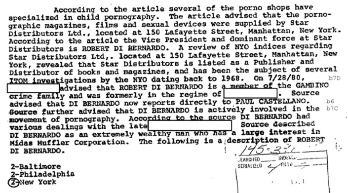 An excerpt from FBI documents which designate Star Distributors Ltd. as a source of child pornography.