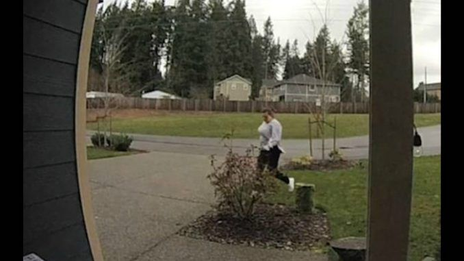 A Washington woman broke her leg while stealing UPS packages from a porch, and the case of instant karma was caught on camera.