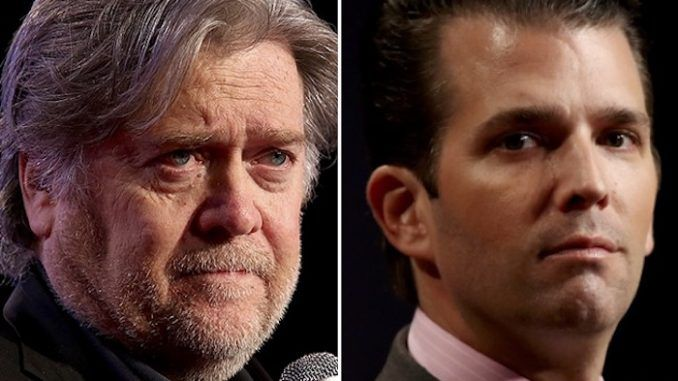 "Donald Trump Jr. is ""unpatriotic"" and ""treasonous"" according to Steve Bannon, who also warned Jared Kushner will be going to jail."