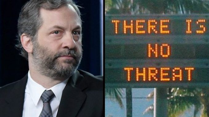 The government are covering up the truth about the Hawaiian missile alert false alarm, according to filmmaker Judd Apatow.