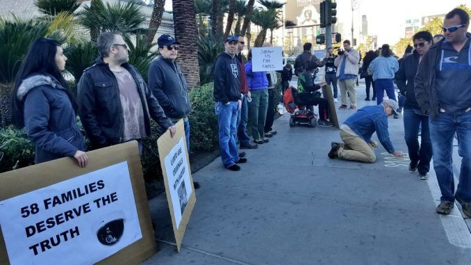 Protestors gather outside Mandalay Bay demanding truth about shooting